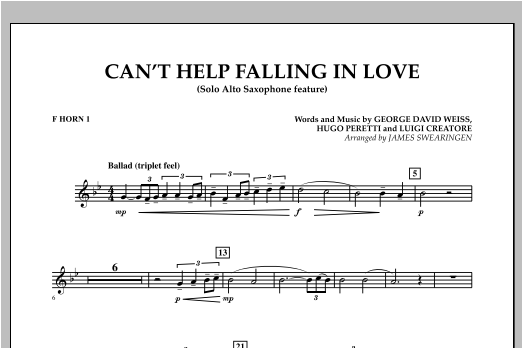 Can't Help Falling In Love (Solo Alto Saxophone Feature) - F Horn 1 (Concert Band)