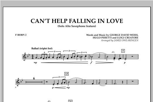 Can't Help Falling In Love (Solo Alto Saxophone Feature) - F Horn 2 (Concert Band)
