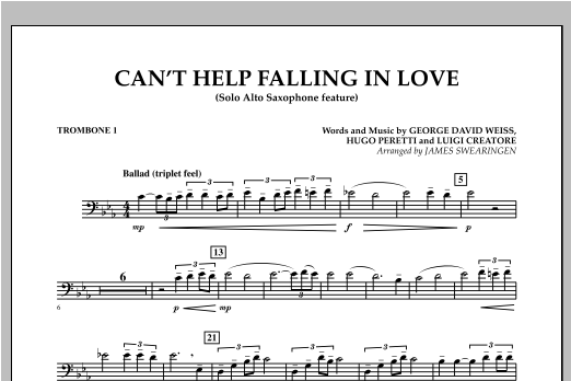 Can't Help Falling In Love (Solo Alto Saxophone Feature) - Trombone 1 (Concert Band)