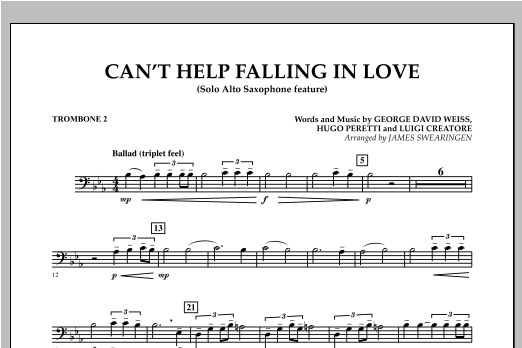 Can't Help Falling In Love (Solo Alto Saxophone Feature) - Trombone 2 (Concert Band)