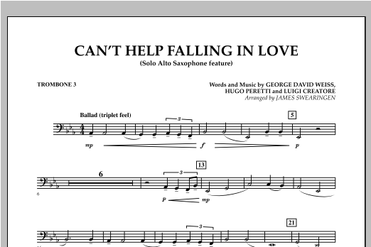 Can't Help Falling In Love (Solo Alto Saxophone Feature) - Trombone 3 (Concert Band)