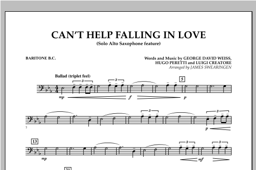Can't Help Falling In Love (Solo Alto Saxophone Feature) - Baritone B.C. (Concert Band)