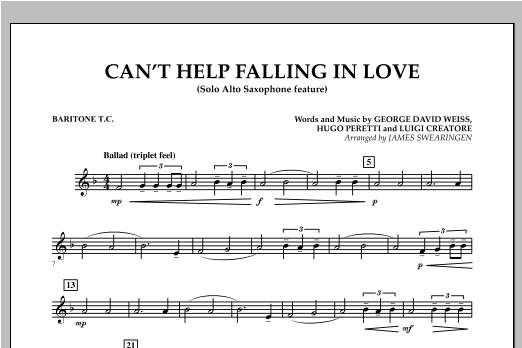 Can't Help Falling In Love (Solo Alto Saxophone Feature) - Baritone T.C. (Concert Band)
