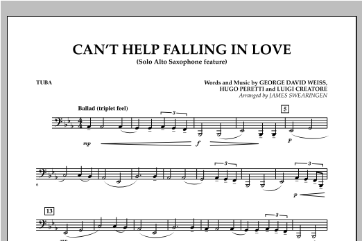 Can't Help Falling In Love (Solo Alto Saxophone Feature) - Tuba (Concert Band)