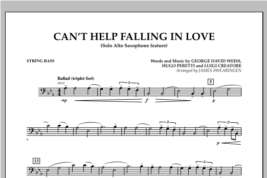 Can't Help Falling In Love (Solo Alto Saxophone Feature) - String Bass (Concert Band)