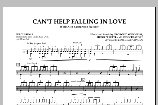 Can't Help Falling In Love (Solo Alto Saxophone Feature) - Percussion 1 (Concert Band)