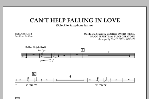 Can't Help Falling In Love (Solo Alto Saxophone Feature) - Percussion 2 (Concert Band)