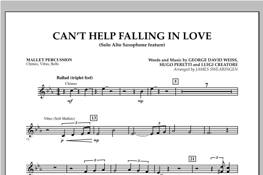 Can't Help Falling In Love (Solo Alto Saxophone Feature) - Mallet Percussion (Concert Band)