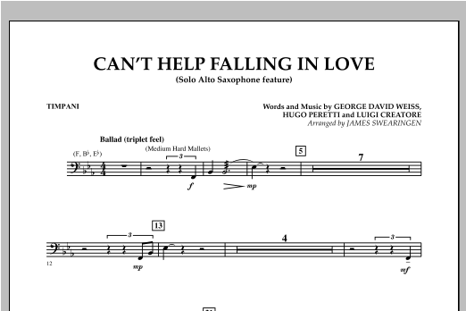 Can't Help Falling In Love (Solo Alto Saxophone Feature) - Timpani (Concert Band)