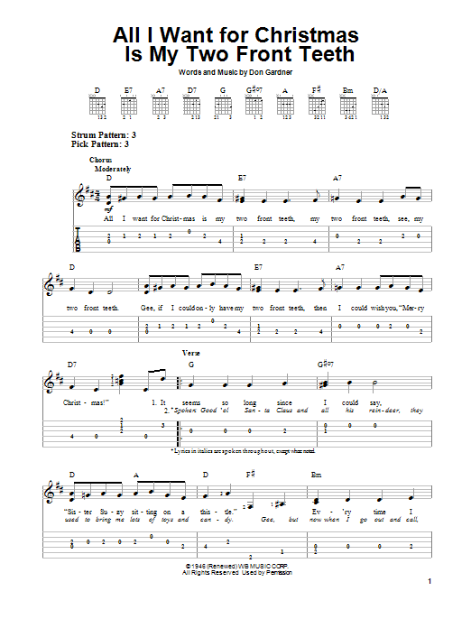 All I Want For Christmas Is My Two Front Teeth (Easy Guitar Tab)