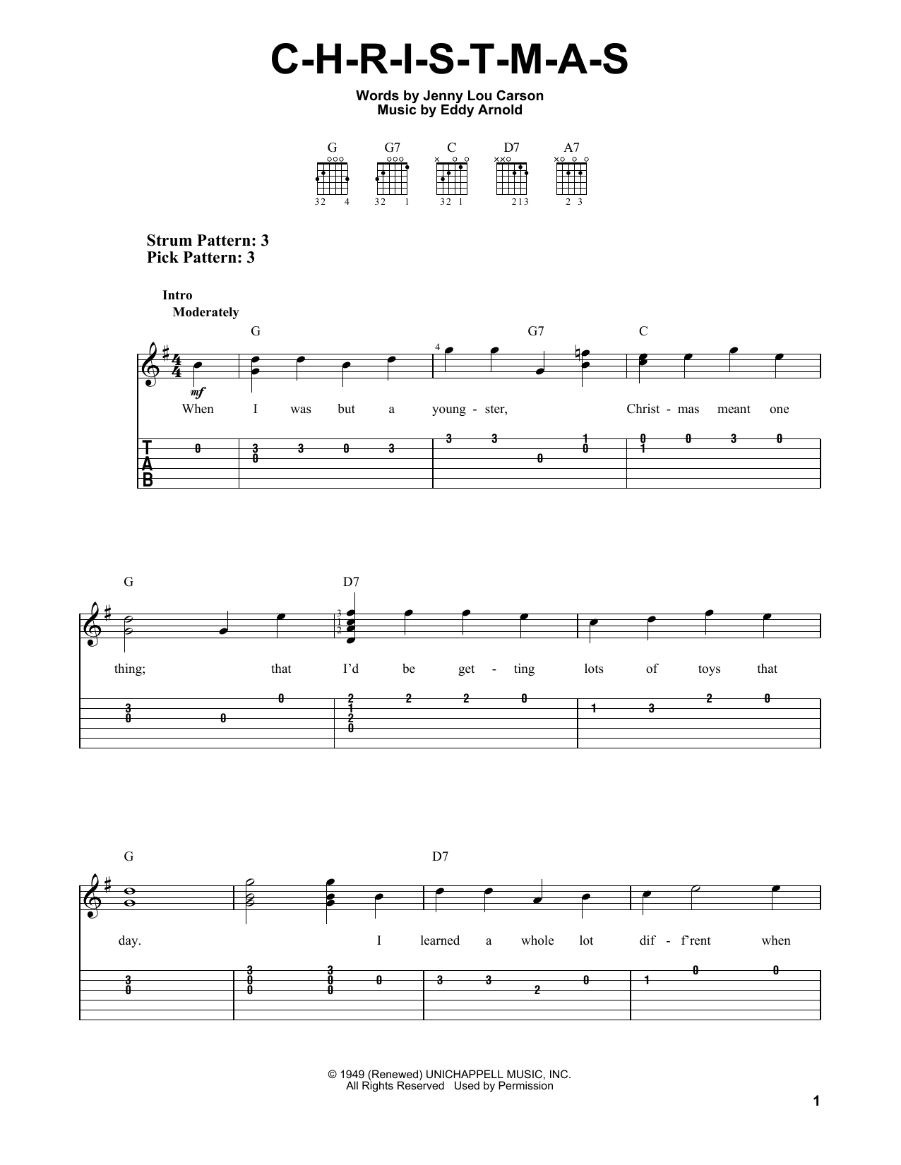 Tablature guitare C-H-R-I-S-T-M-A-S de Eddy Arnold - Tablature guitare facile