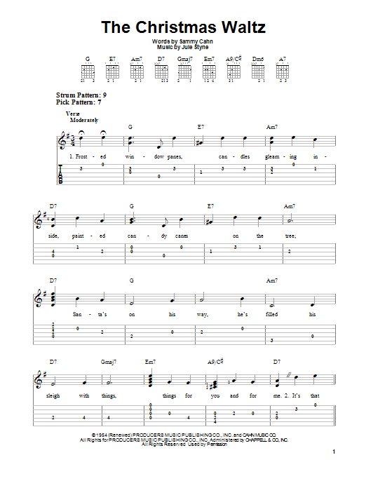 Tablature guitare The Christmas Waltz de Sammy Cahn - Tablature guitare facile