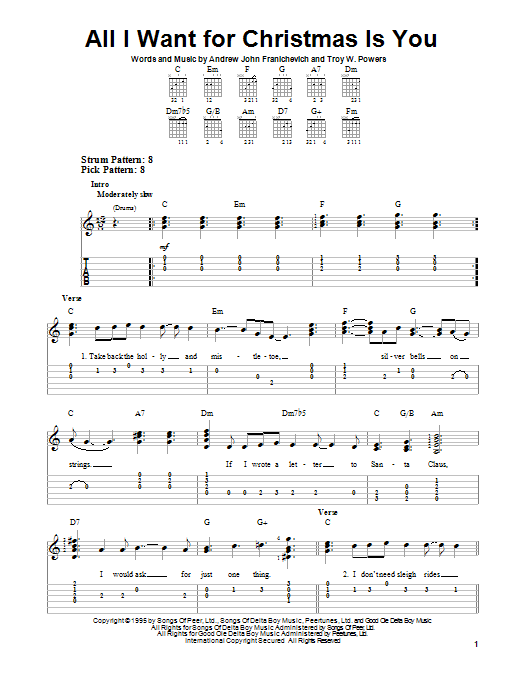 Guitar guitar tabs xmas : All I Want For Christmas Is You sheet music by Andrew John ...