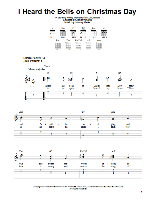 I Heard The Bells On Christmas Day (Easy Guitar Tab)