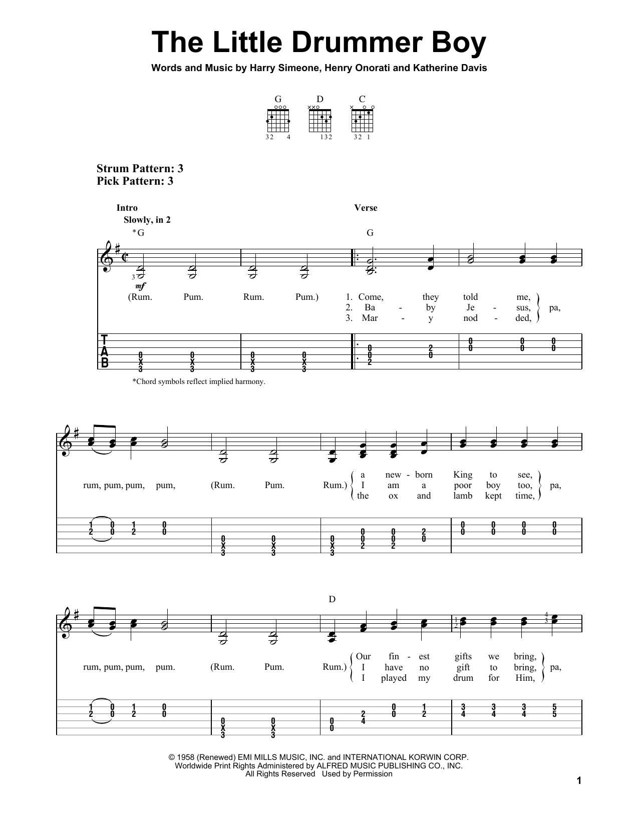 Tablature guitare The Little Drummer Boy de Katherine Davis - Tablature guitare facile