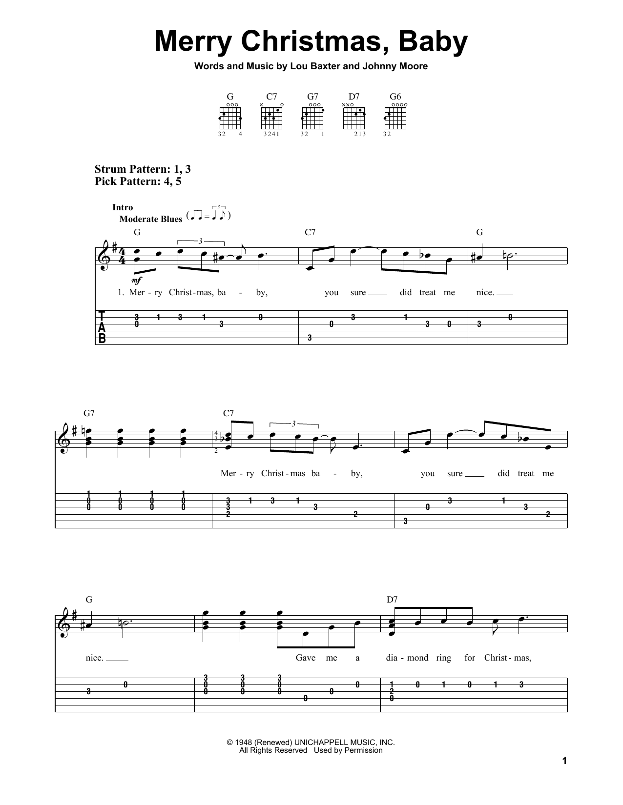 Tablature guitare Merry Christmas, Baby de Johnny Moore - Tablature guitare facile