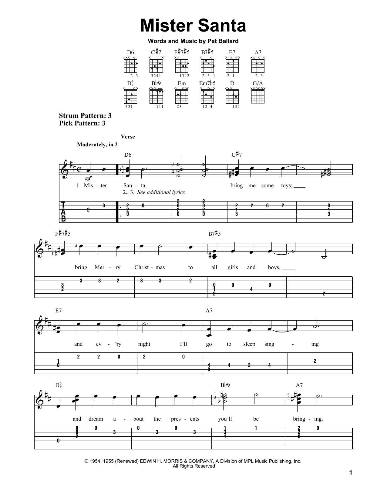 Mister Santa (Easy Guitar Tab)