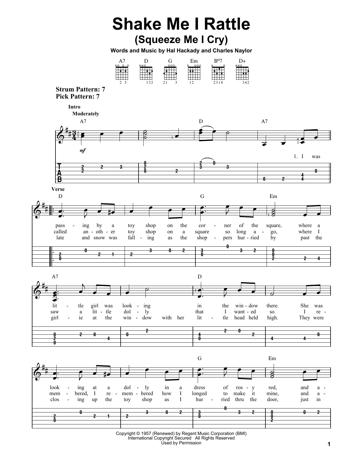 Shake Me I Rattle (Squeeze Me I Cry) (Easy Guitar Tab)