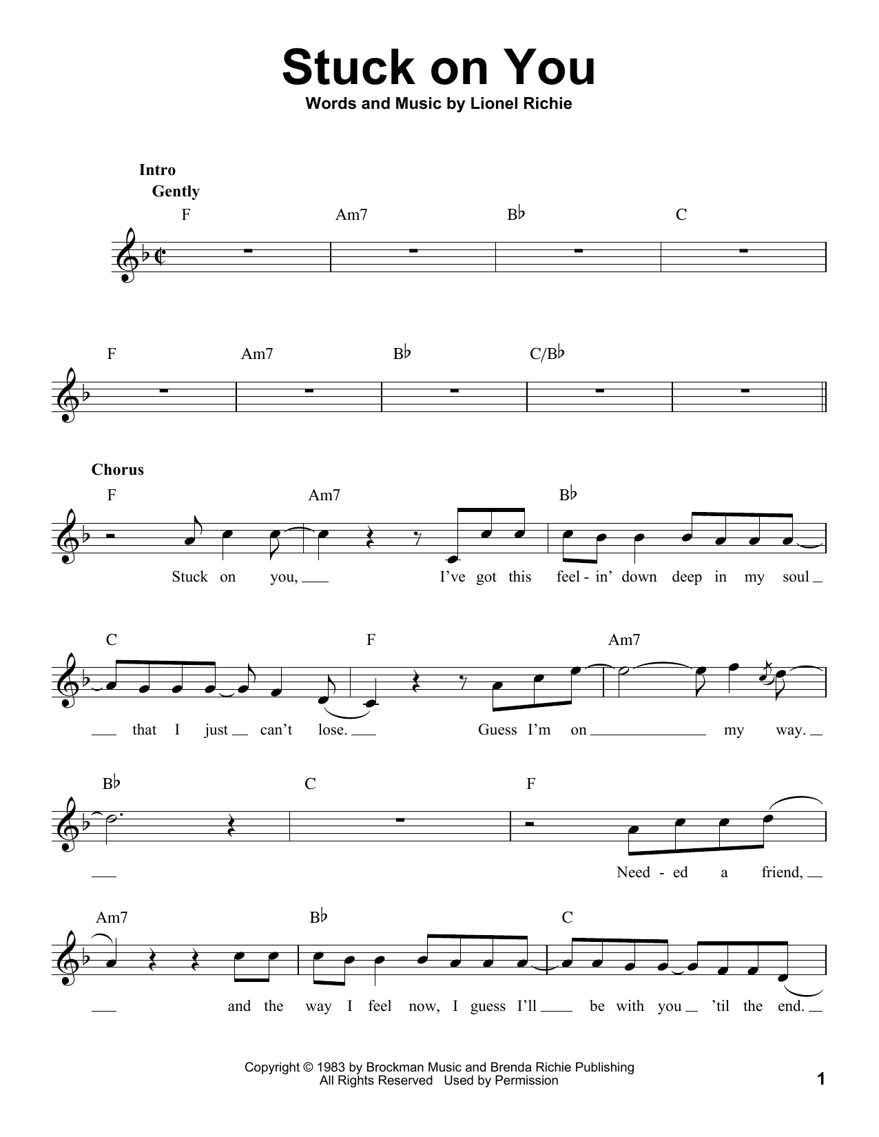 Stuck On You Sheet Music