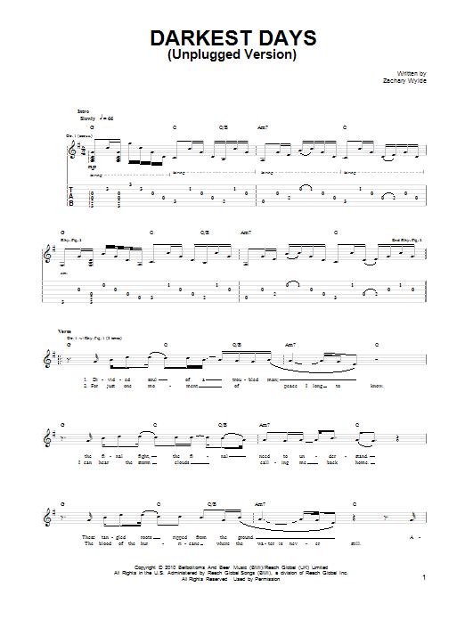 Darkest Days (Unplugged Version) Sheet Music