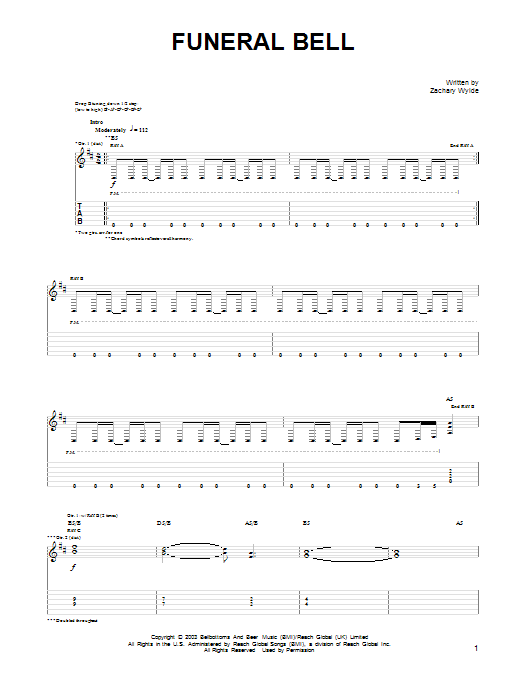 Tablature guitare Funeral Bell de Black Label Society - Tablature Guitare