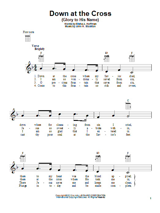 Down At The Cross (Glory To His Name) | Sheet Music Direct