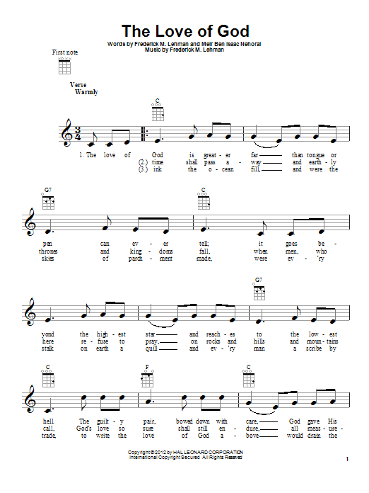 Tablature guitare The Love Of God de Meir Ben Isaac Nehorai - Ukulele