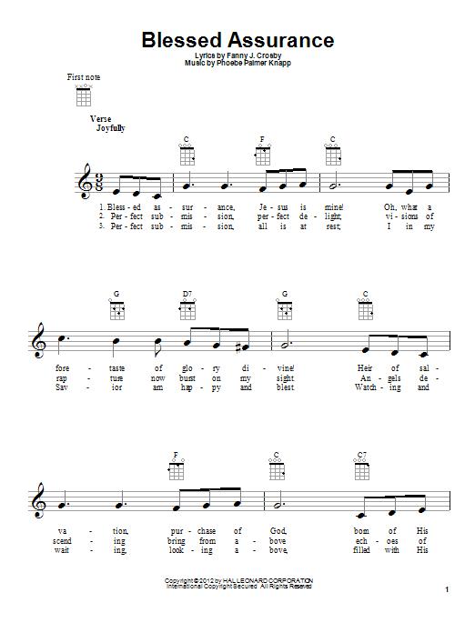 Tablature guitare Blessed Assurance de Fanny J. Crosby - Ukulele