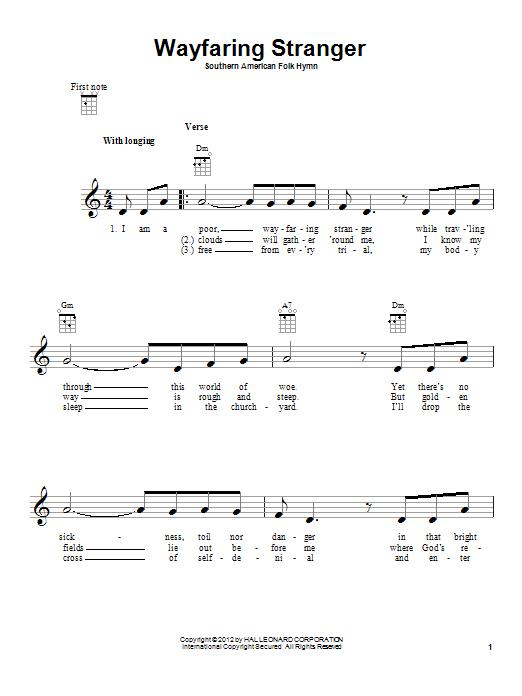 Tablature guitare Wayfaring Stranger de Southern American Folk Hymn - Ukulele