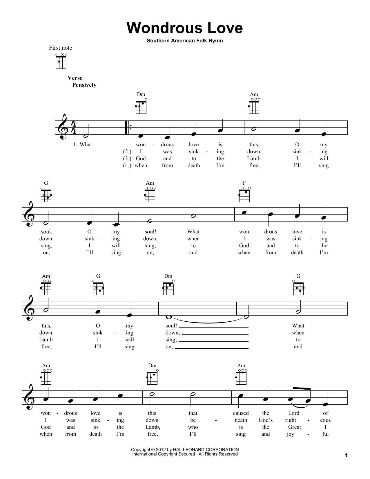 Tablature guitare Wondrous Love de Southern American Folk Hymn - Ukulele