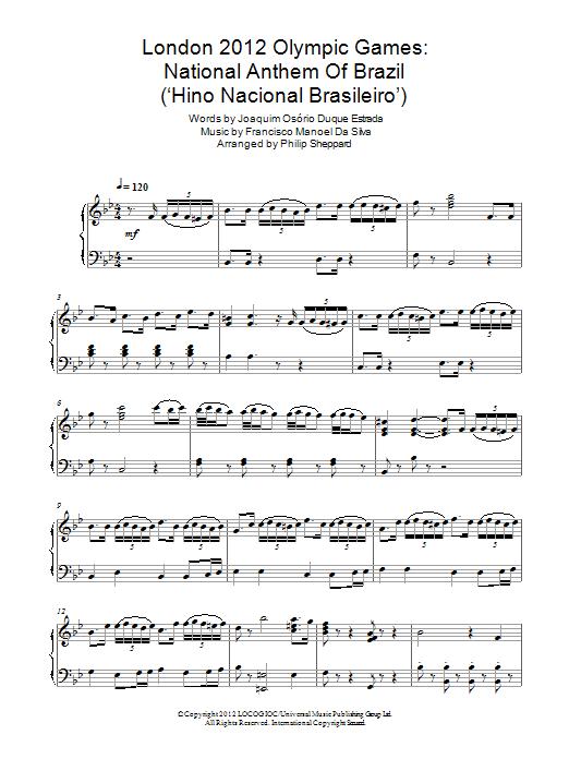 London 2012 Olympic Games: National Anthem Of Brazil ('Hino Nacional Brasileiro') Sheet Music