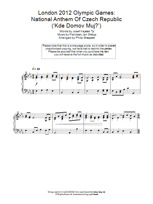 London 2012 Olympic Games: National Anthem Of Czech Republic ('Kde Domov Muj?') Sheet Music