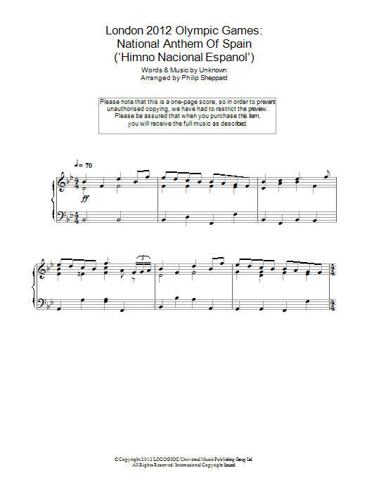 London 2012 Olympic Games: National Anthem Of Spain ('Himno Nacional Espanol') Sheet Music