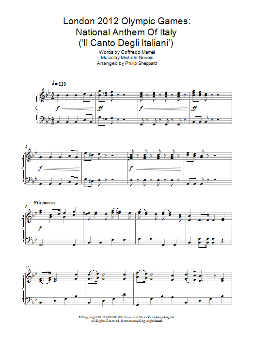 London 2012 Olympic Games: National Anthem Of Italy ('Il Canto Degli Italiani') Sheet Music