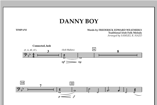 Danny Boy - Timpani Sheet Music