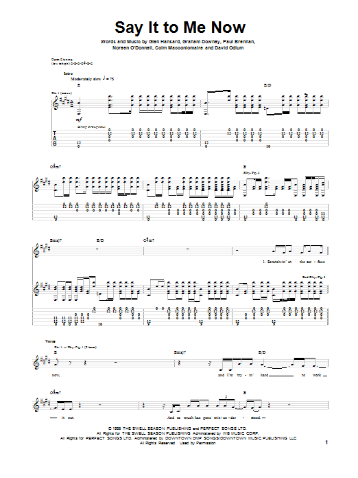 Say It To Me Now Sheet Music