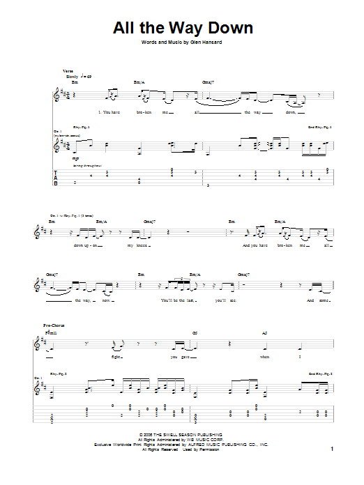 All The Way Down Sheet Music