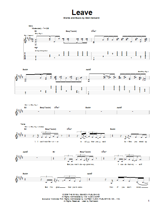 Leave Sheet Music