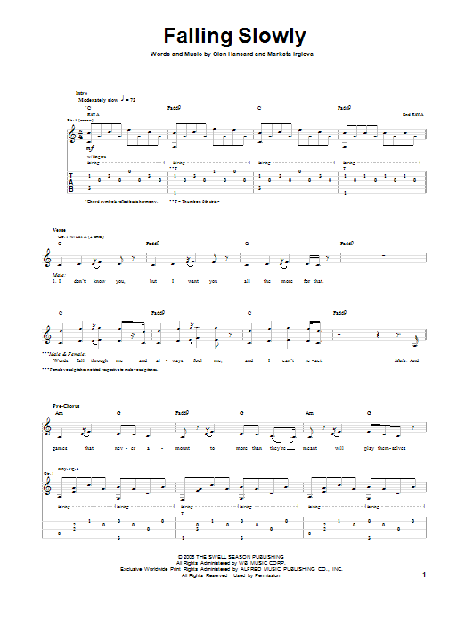 Falling Slowly Guitar Tab by The Swell Season (Guitar Tab – 91886)