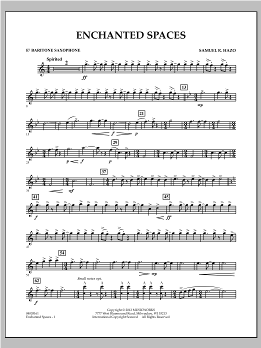 Enchanted Spaces - Eb Baritone Saxophone Sheet Music