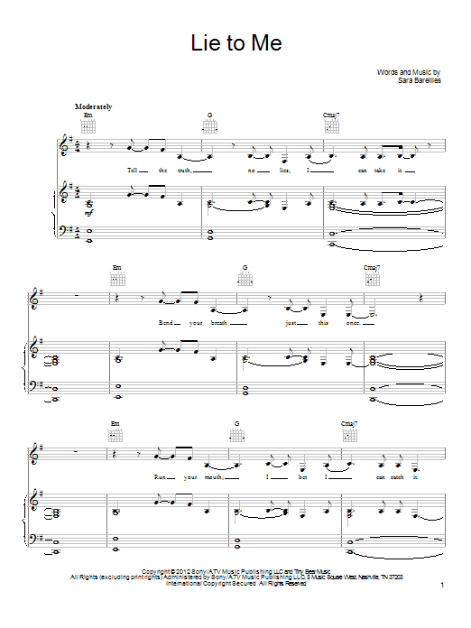 Lie To Me Sheet Music