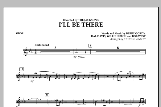 I'll Be There - Oboe Sheet Music