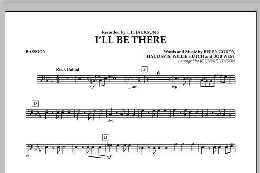 I'll Be There - Bassoon Sheet Music