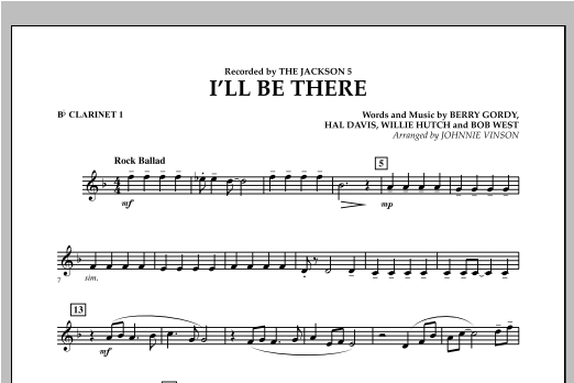 I'll Be There - Bb Clarinet 1 (Concert Band)