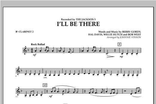I'll Be There - Bb Clarinet 2 (Concert Band)