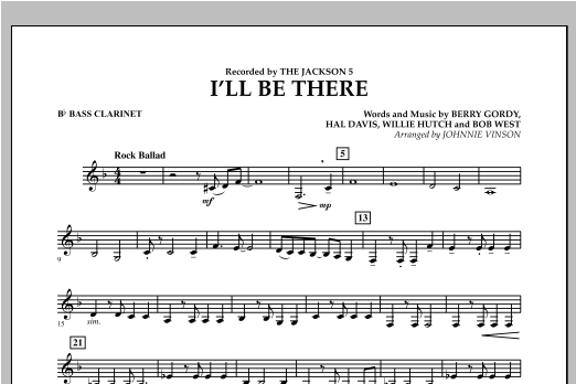 I'll Be There - Bb Bass Clarinet Sheet Music