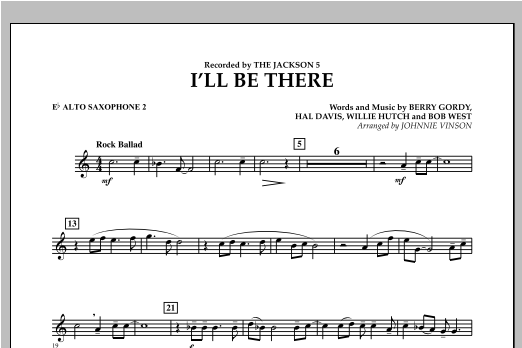 I'll Be There - Eb Alto Saxophone 2 Sheet Music