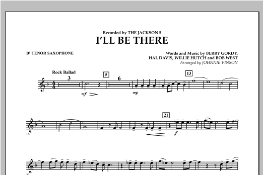 I'll Be There - Bb Tenor Saxophone Sheet Music