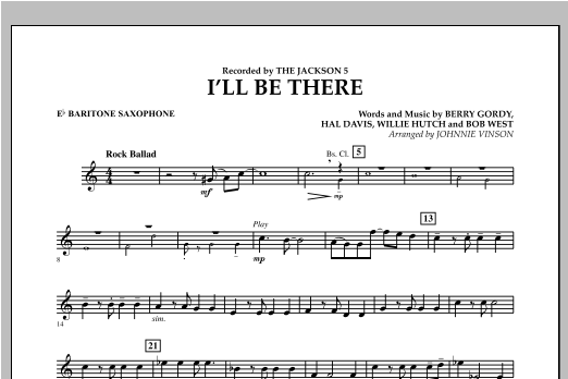 I'll Be There - Eb Baritone Saxophone Sheet Music