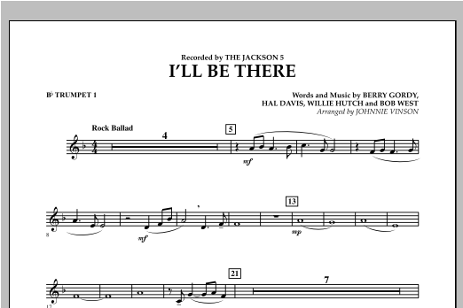 I'll Be There - Bb Trumpet 1 (Concert Band)